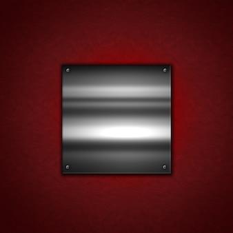Grunge fundo de metal com um prato metálico brilhante em uma textura de couro vermelho
