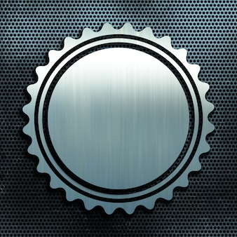Grunge perfurado fundo textura de metal com crachá de alumínio escovado