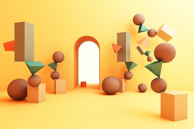 Grupo abstrato mínimo mínimo da forma geométrica abstrata conjunto renderização 3d de cor amarela