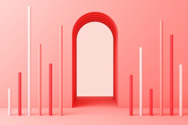 Grupo abstrato mínimo mínimo da forma geométrica abstrata conjunto rosa renderização em 3d cor pastel