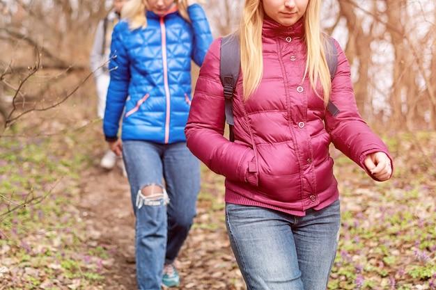 Grupo de amigos caminhando com mochilas na floresta de primavera