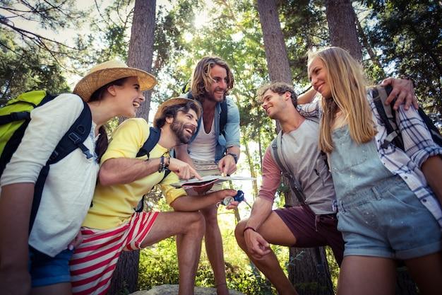 Grupo de amigos interagindo uns com os outros na floresta
