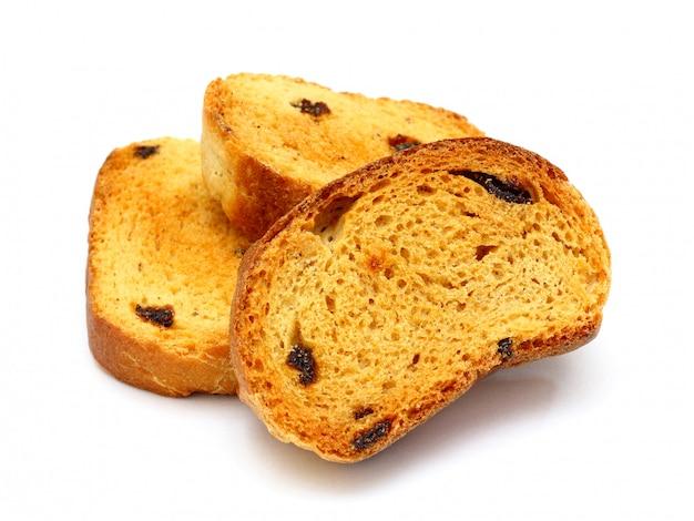 Grupo de biscoitos saborosos doces com passas isoladas