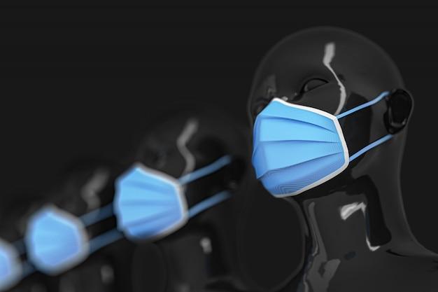Grupo de cabeças de manequim preto brilhante feminino em pé em uma linha em máscaras médicas azuis brilhantes sobre um fundo preto.