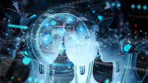 Grupo de cabeças de robôs femininos usando telas de holograma digital