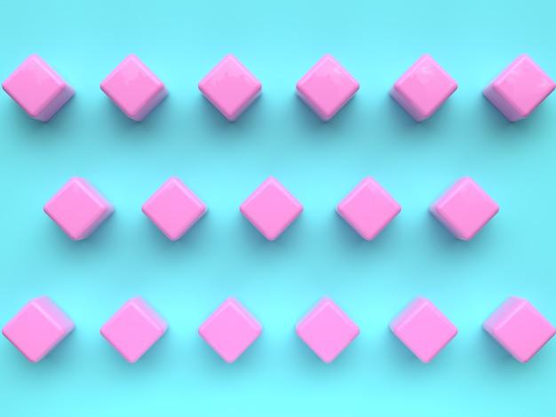 Grupo de cena plana leigos de padrão de forma geométrica rosa azul conjunto mínimo de renderização 3d abstrata