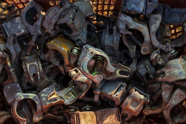 Grupo de closeup de ferro ferrugem