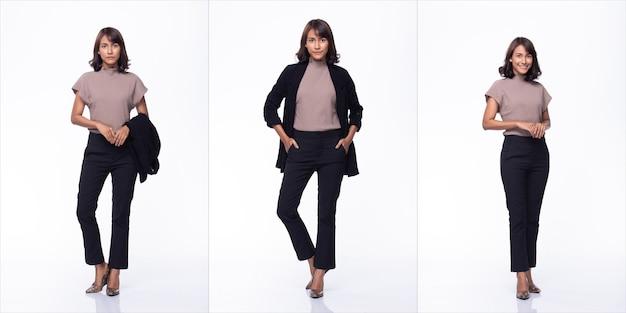 Grupo de colagem pack de 30 anos mãe indiana / mulher asiática cabelo preto lindo usar vestido roxo blazzer sapatos de salto alto suportar muitas poses corpo inteiro. iluminação de estúdio com fundo branco isolado
