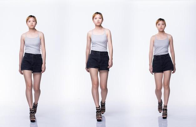 Grupo de colagem pacote de jovem adolescente mulher asiática cor loira cabelo tingido camisa cinza sapatos de salto alto andar com o corpo inteiro snap de bom humor otimista. iluminação de estúdio com fundo branco isolado