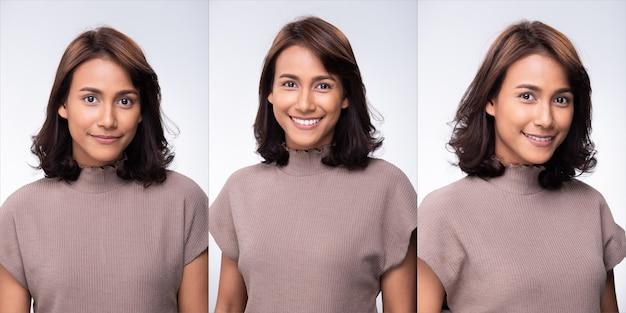Grupo de colagem pacote de moda jovem mãe 30 anos mulher indiana / asiática cabelos curtos cachos negros maquiagem linda vestido roxo posando atraente muitos olhares sorrir. iluminação de estúdio com fundo branco isolado