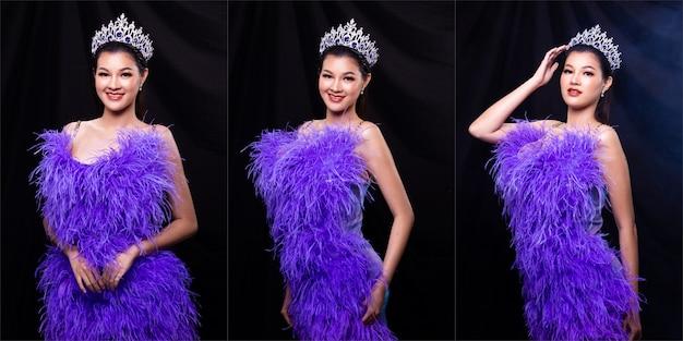 Grupo de colagem retrato da senhorita concurso de beleza em vestido de baile noturno de pena roxa com coroa de diamante, mulher asiática se sente feliz, sorri e posa de estilo diferente sobre a fumaça de fundo escuro