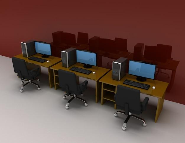 Grupo de computadores com mesa. ilustração 3d renderada