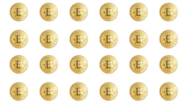 Grupo de conceito de mineração de bitcoin de tecnologia blockchain de moedas de bitcoin isoladas em branco