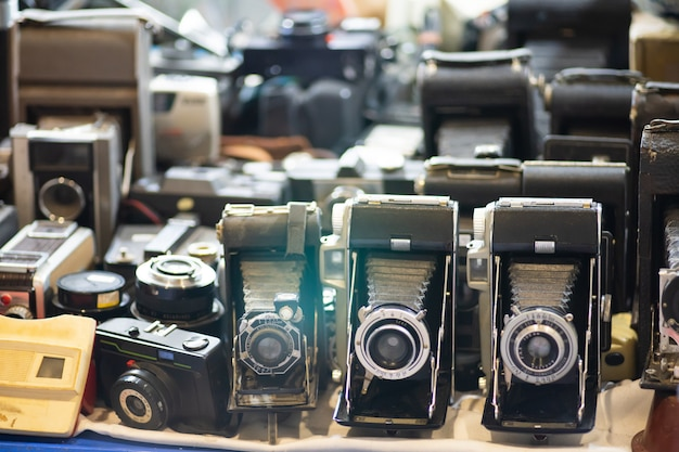 Grupo de conjunto de câmera fotográfica vintage antigo