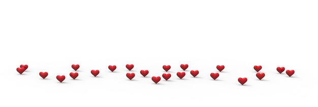 Grupo de corações dos namorados em fundo branco. renderização 3d.
