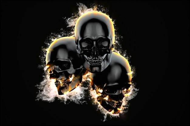 Grupo de crânios em chamas em fundo escuro