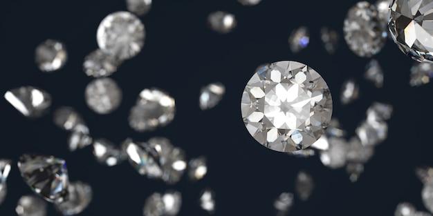 Grupo de diamantes brancos caindo