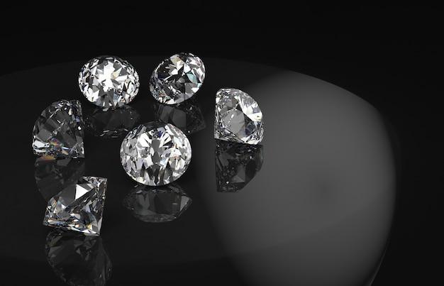 Grupo de diamantes com reflexo no fundo preto.