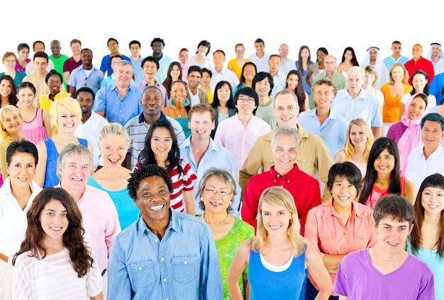Grupo, de, diverso, pessoas, estúdio