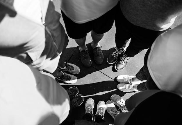 Grupo, de, diverso, pessoas, ficar, junto
