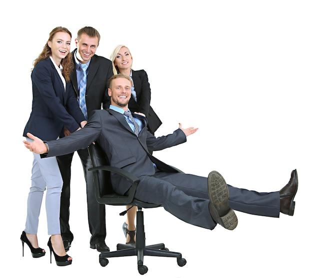 Grupo de empresários isolado no branco