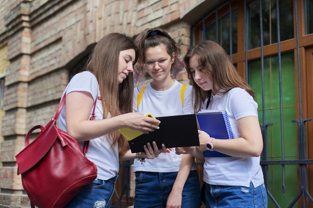 Grupo de estudantes universitários conversando, estudantes universitários adolescentes perto de um prédio de tijolos. de volta à faculdade, início das aulas, educação, ensino médio