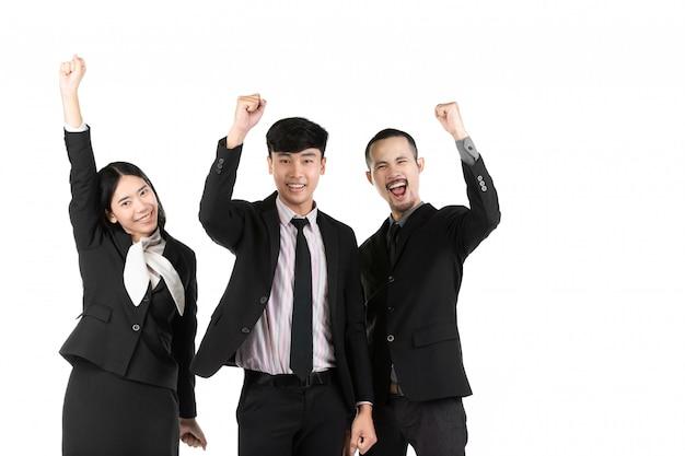 Grupo de executivos asiáticos isolado no branco.