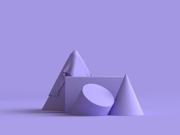 Grupo de forma geométrica abstrata conjunto renderização 3d abstrato mínimo violeta-roxo