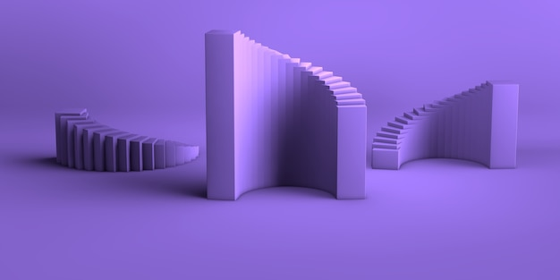 Grupo de forma geométrica abstrata de fundo abstrato mínimo renderização em 3d definido como violeta-roxo