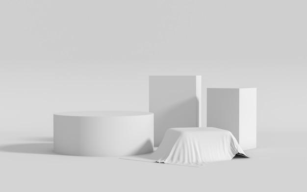 Grupo de forma geométrica abstrata definir cena mínima, renderização em 3d
