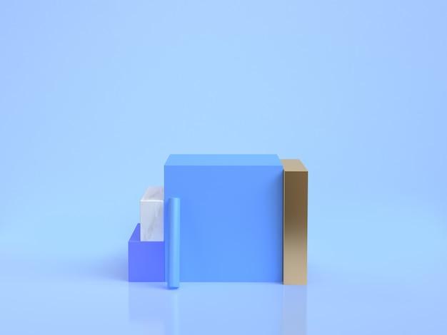 Grupo de forma geométrica minimalista mármore azul ouro grupo conjunto renderização em 3d