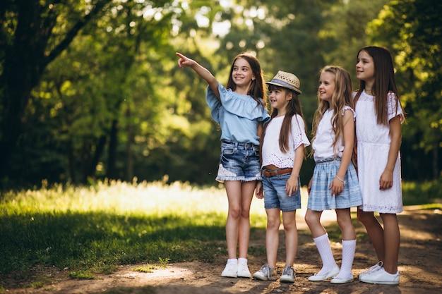 Grupo de garotas adolescentes se divertindo na floresta