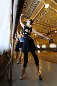 Grupo de giro jovem bailarinos profissionais na aula de balé