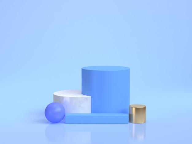 Grupo de grupo de forma geométrica mínima cena azul de renderização 3d