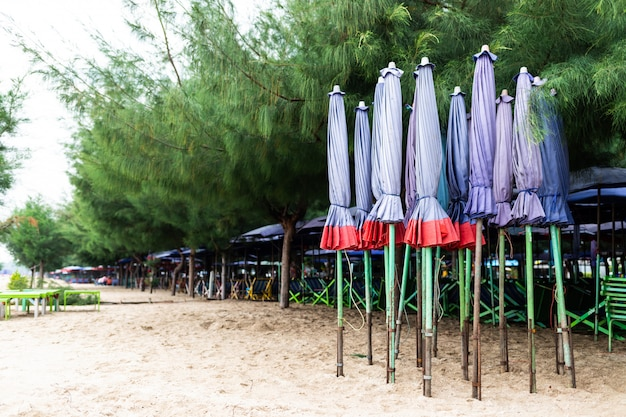 Grupo de guarda-chuva de praia roxa e cadeiras dispostas ao longo da praia na tailândia