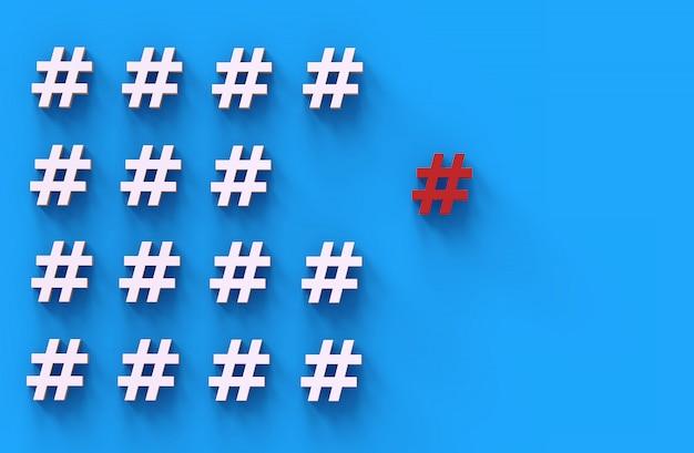 Grupo de ícone de hashtag sobre fundo azul