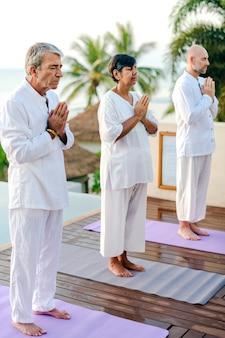Grupo de idosos praticando ioga à beira da piscina