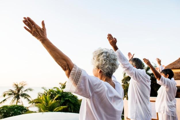 Grupo de idosos praticando ioga pela manhã