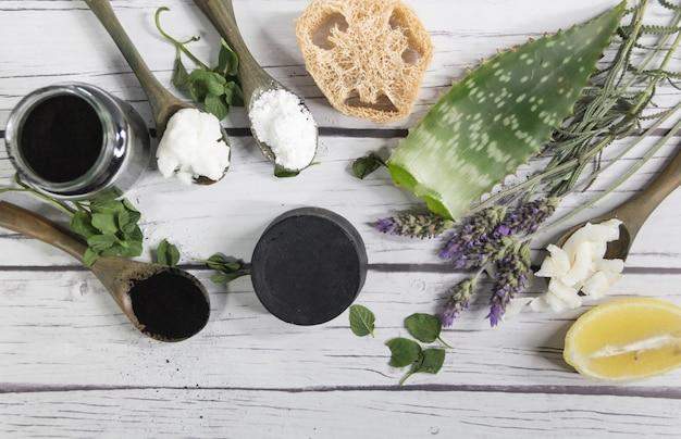 Grupo de ingredientes vegetais para fazer cosméticos naturais com carvão ativado