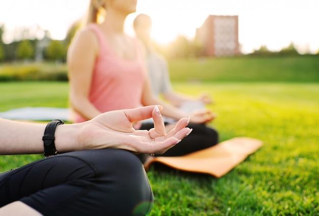 Grupo de ioga no fundo da grama verde