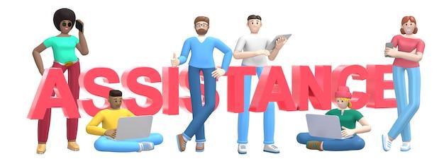 Grupo de jovens bem sucedidos multiétnicas com laptop, tablet, telefone e palavra assistência. personagem de desenho animado e slogan do site de texto. renderização em 3d.