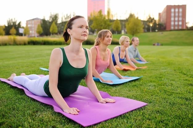Grupo de jovens envolvidos em fitness na grama