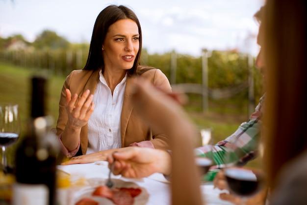 Grupo de jovens sentados à mesa e bebendo vinho tinto na vinha
