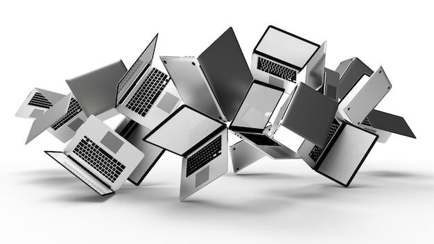 Grupo de laptop moderno, isolado no fundo branco.