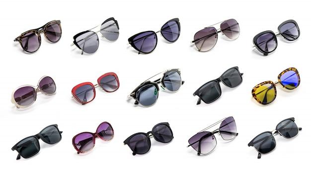 Grupo de lindos óculos de sol isolado. costume fashion.