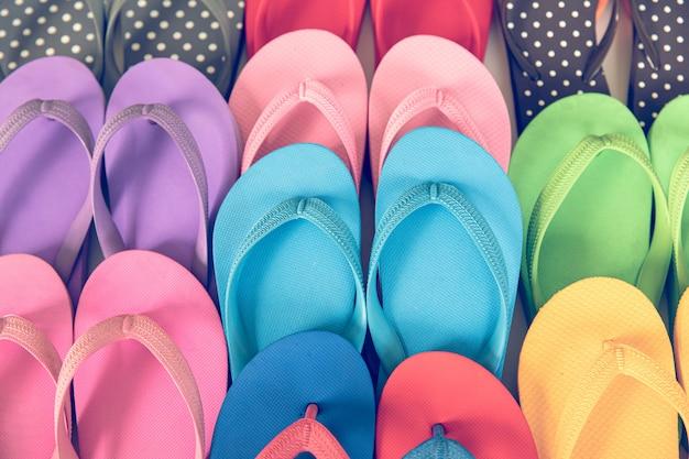 Grupo de linhas de nadadeiras coloridas.