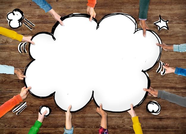 Grupo de mão pop art expolding concept
