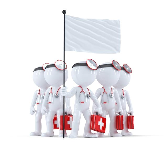 Grupo de médicos com bandeira em branco. isolado. contém o traçado de recorte