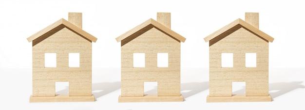 Grupo de modelo de casa de madeira no fundo branco