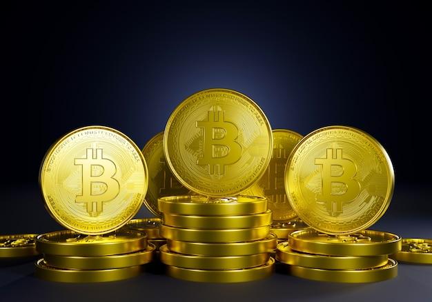 Grupo de moedas de ouro bitcoin com renderização em 3d. cadeia de bloco de criptografia novo pagamento financeiro e troca de dinheiro bancário. rede de comércio monetária.